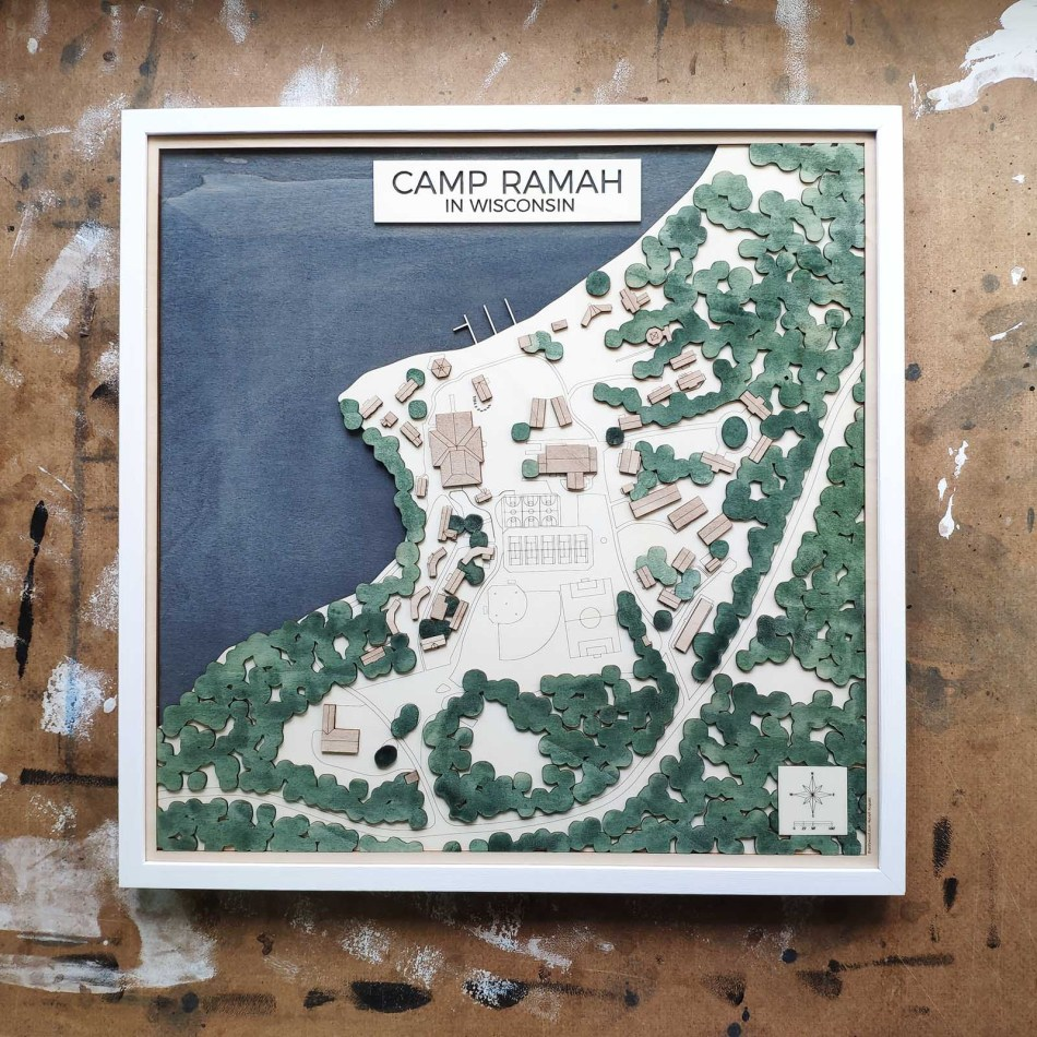 Camp Custom Map laser cut https://thecitywood.com/ CityWood is a wooden map artwork. City streets, water - Laser Cut Wooden Maps - Award Wining Design by architect and designer Hubert Roguski