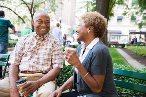 senior couple on bench in chicago