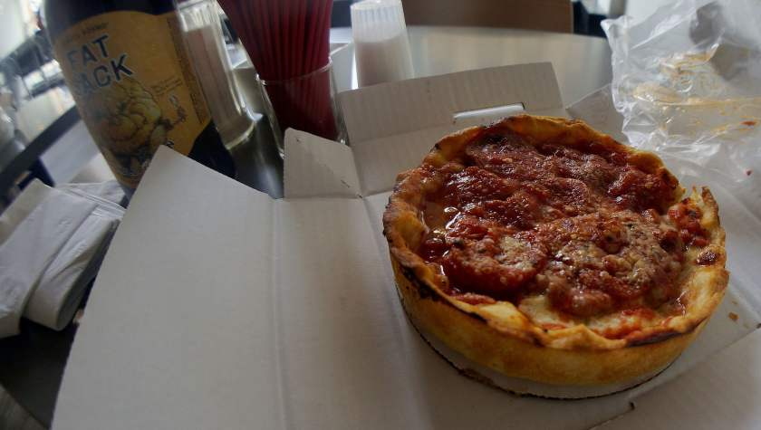 A single-serving deep dish pizza from Lou Malnati's.