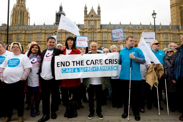 Hundred's of older and disabled people lobby Parliament to End the Care Crisis.