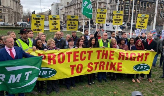 RMT protest against new anti-strike laws
