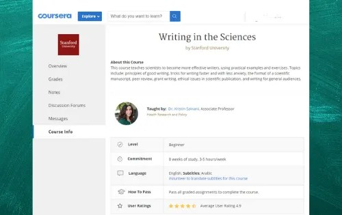 """COURSE: """"Writing in the Sciences"""" online course"""