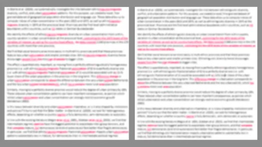 Side by side comparison of the same text (blurred). The one with silent changes is less red.