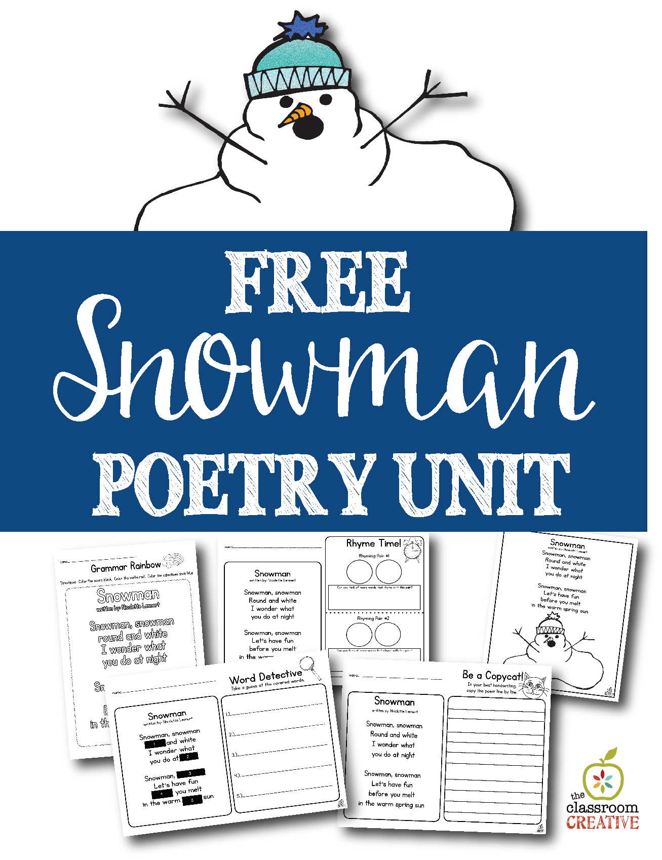 hight resolution of Free Printable Snowman Poem Unit and Literacy Center