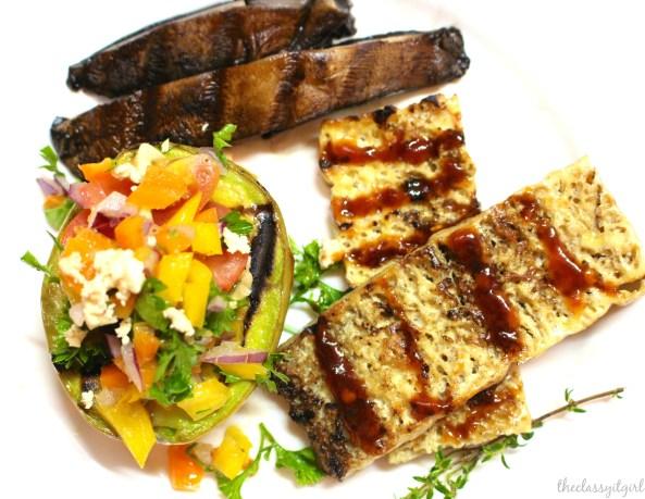 ... and pepper salsa, grilled portobello mushrooms and grilled tofu steak