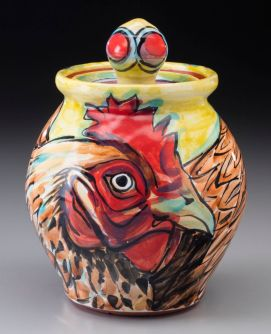 "Rooster Covered Jar 5""x5""x6.75"""