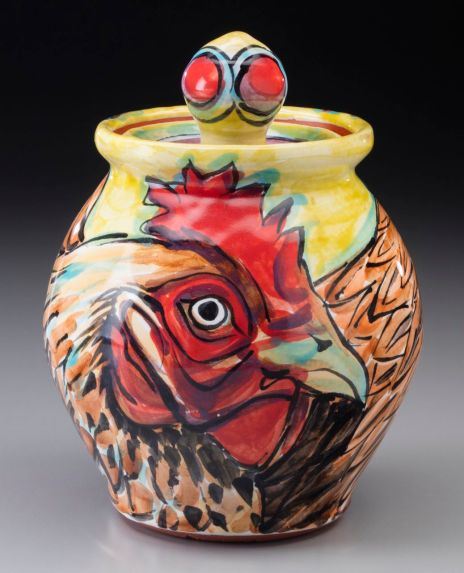 """Rooster Covered Jar 5""""x5""""x6.75"""""""
