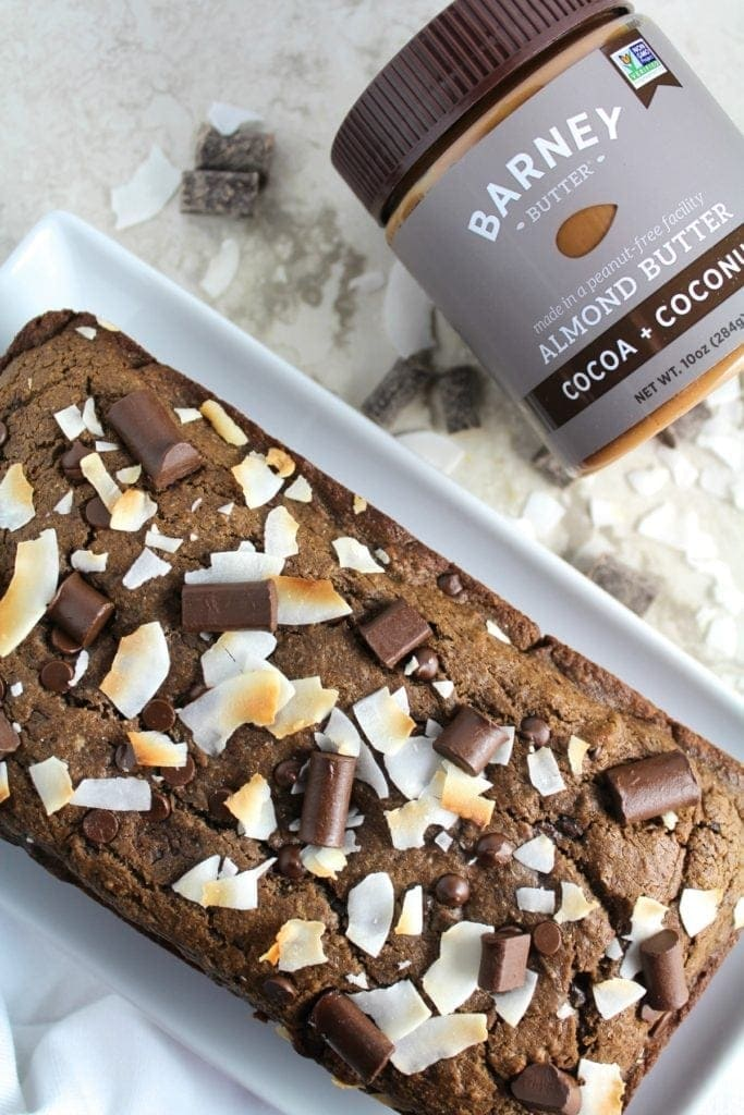 Healthy Cocoa Coconut Almond Butter Bread is perfect for breakfast or brunch. Made with sweet cocoa, coconut + creamy almond butter - it's such a treat!