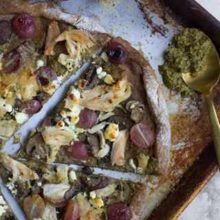 Healthier Chicken Pesto Grape Pizza Recipe