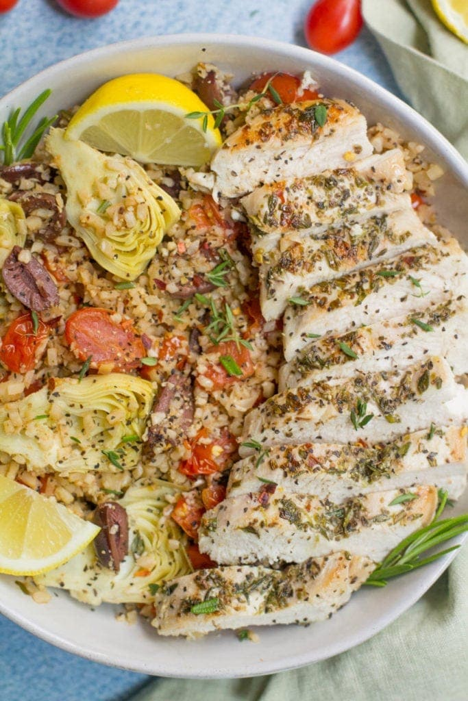 Greek Chicken Cauliflower Rice Bowls
