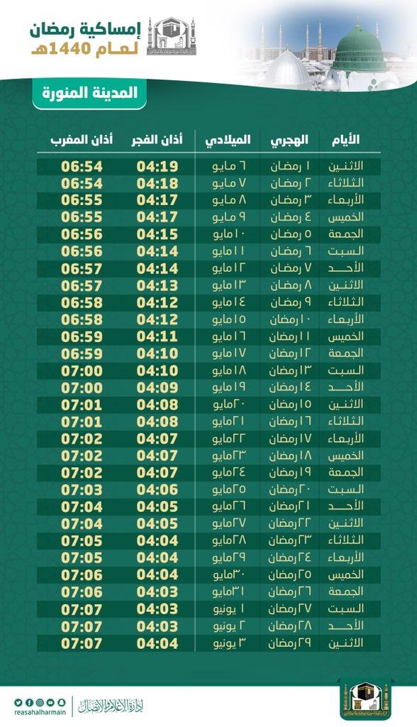 Fasting Schedule in Ramadan 2019 in Madina, Saudi Arabia (Arabic)