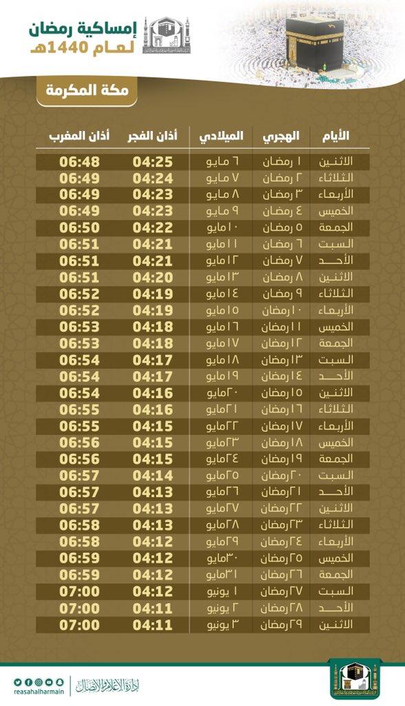 Fasting Schedule in Ramadan 2019 in Makkah, Saudi Arabia (Arabic)