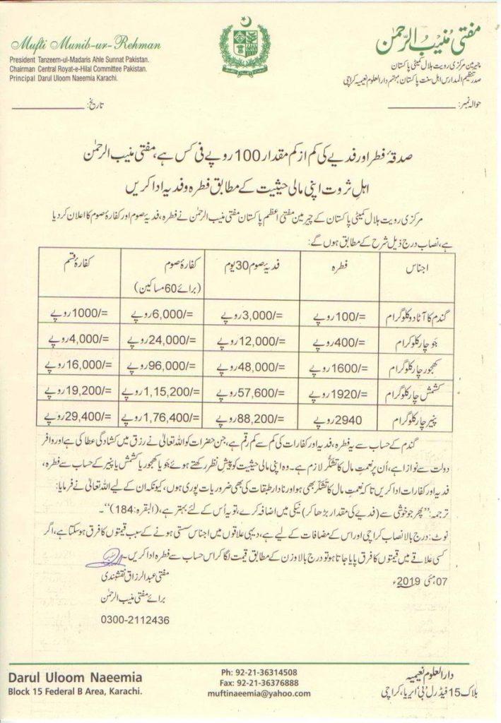 Sadqa e Fitr as per Darul Uloom Naeemia, Karachi, Pakistan