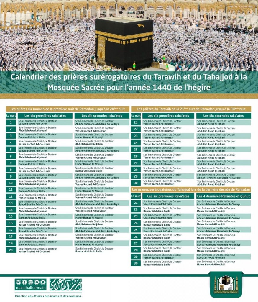 Schedule of Taraweeh and Tahajjud Prayers in Masjid Al Haram, Makkah, Saudi Arabia (1440H - 2019) (French)