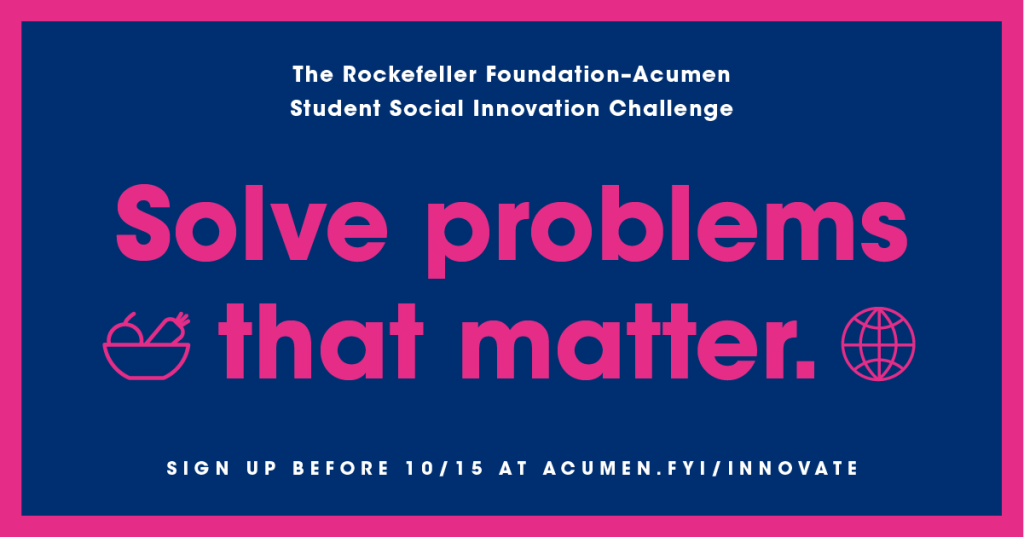Featured Image - Social Innovation Challenge for University Students - The Rockefeller Foundation & Acumen