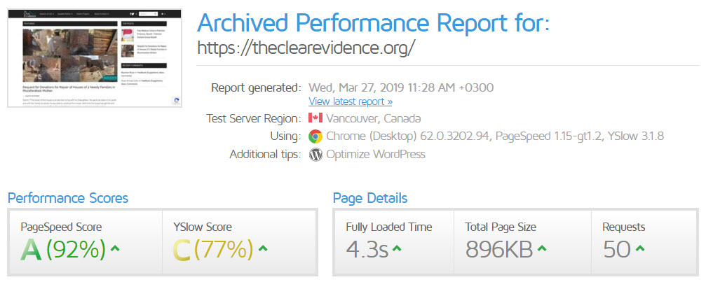 27th March 2019 - GTmetrix Performance Report for The Clear Evidence