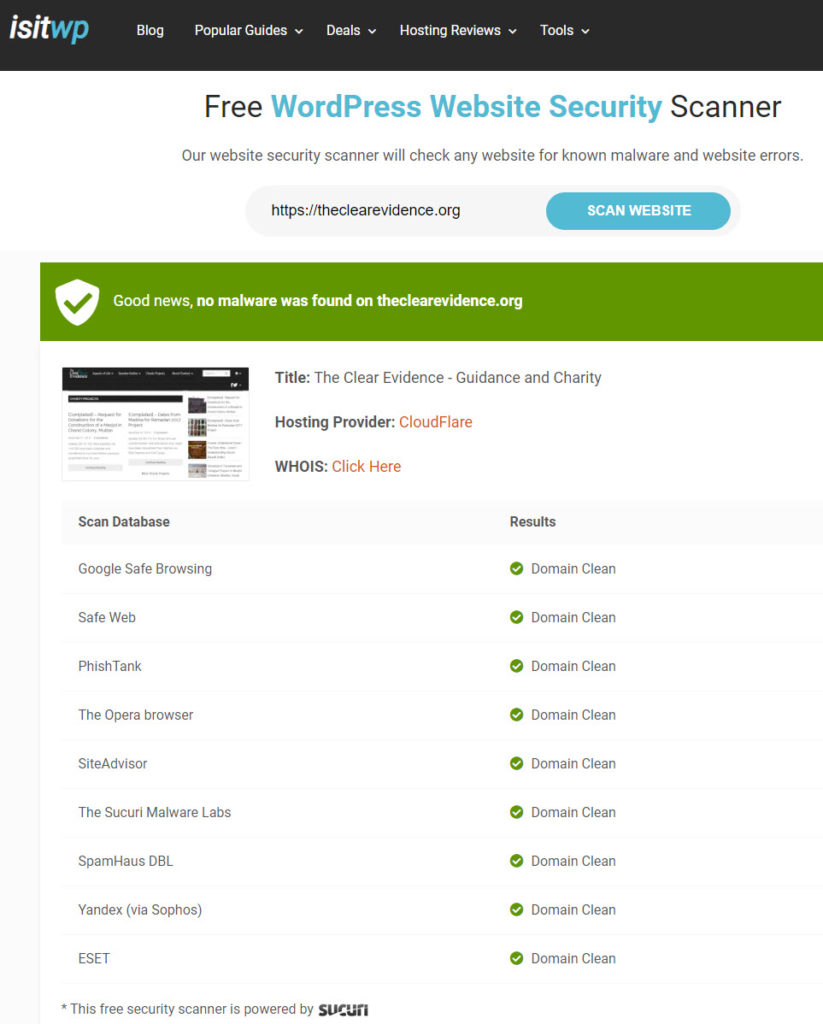 Security Ratings - isitwp Free WordPress Website Security Scanner - The Clear Evidence