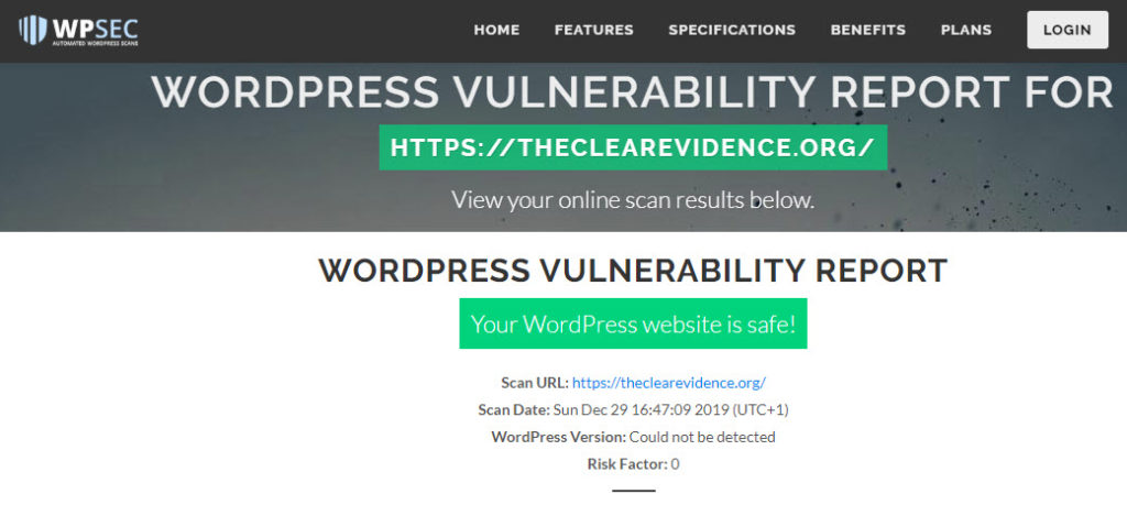 Security Ratings - WPSEC WORDPRESS VULNERABILITY REPORT - The Clear Evidence