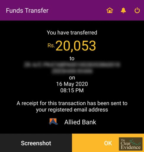 Bank Transfer Receipt - Request for Donations for a Cancer Patient in Rawalpindi