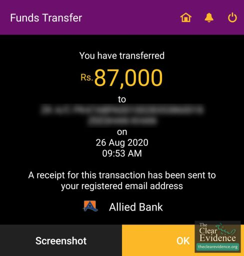 Bank Transfer Receipt - Surgery of a Special Girl in Rawalpindi