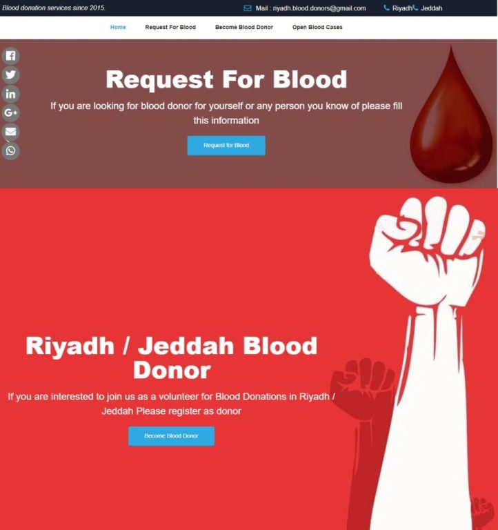 Website Snapshot - PARSAA Blood Donation Services in Riyadh and Jeddah