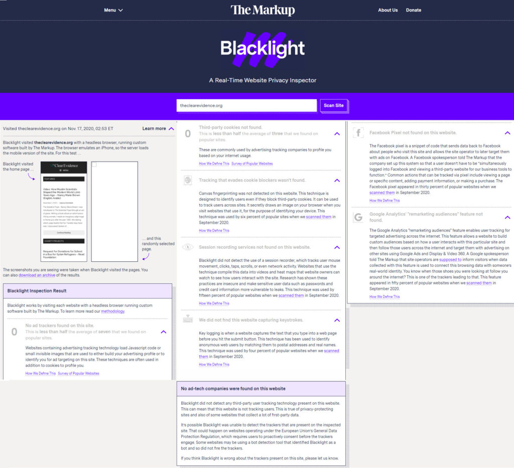 The Markup Blacklight Inspection Result - Privacy and Security Ratings for The Clear Evidence