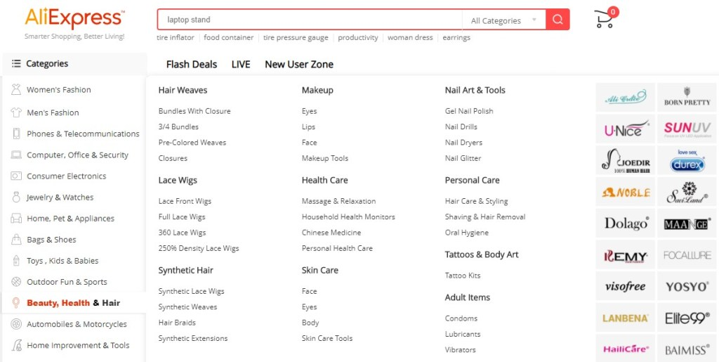 AliExpress Beauty, Health & Hair categories