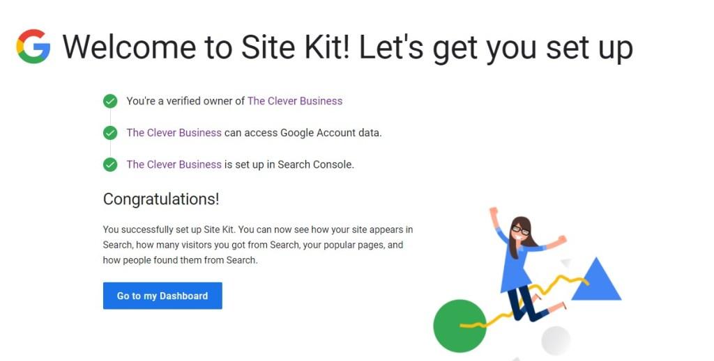 Google Site Kit congratulation message