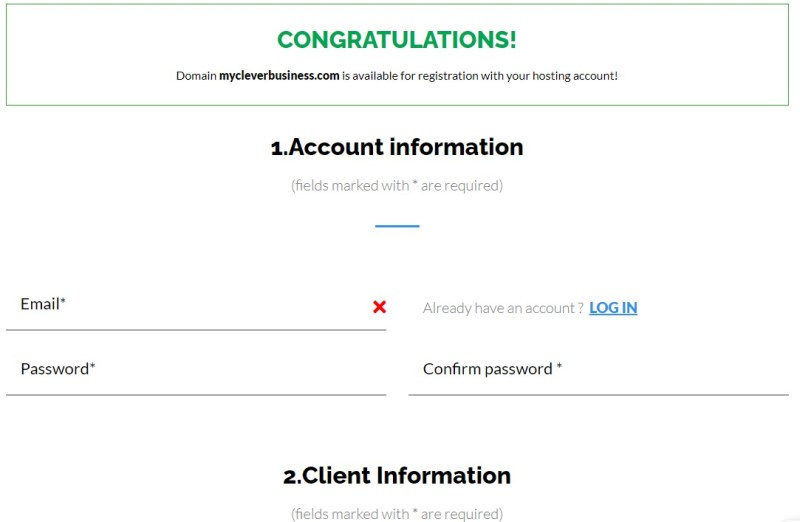 TMDHosting account information