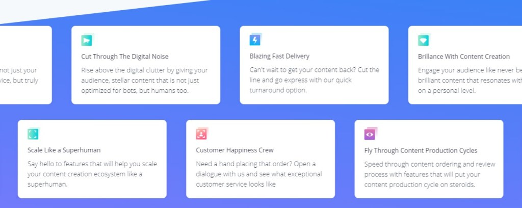 Service feature section of a business page