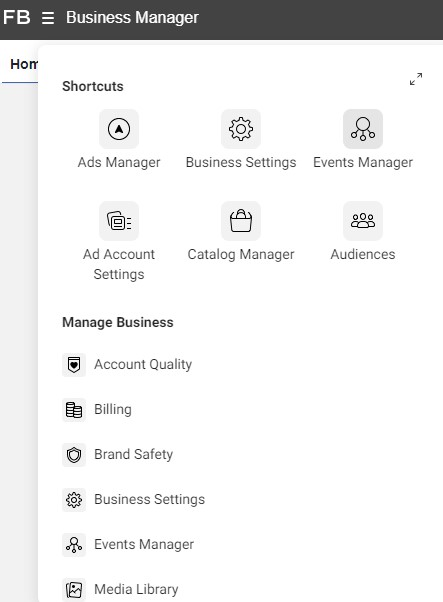 Facebook business manager tabs