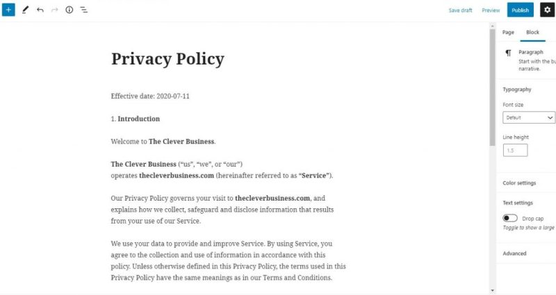 WordPress privacy policy page editor