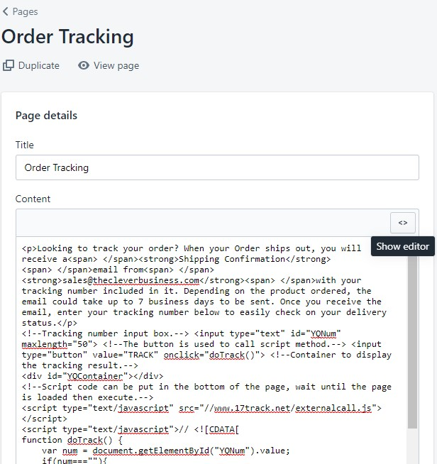 Shopify order tracking page editor