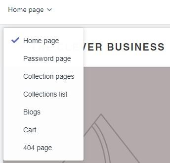 Shopify page dropdown menu
