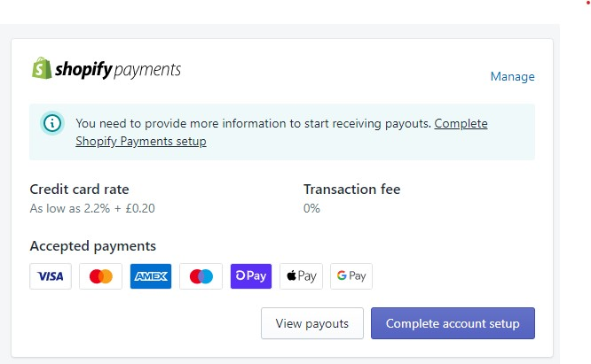 Shopify payments manage button