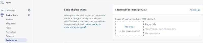 Shopify social sharing image setting