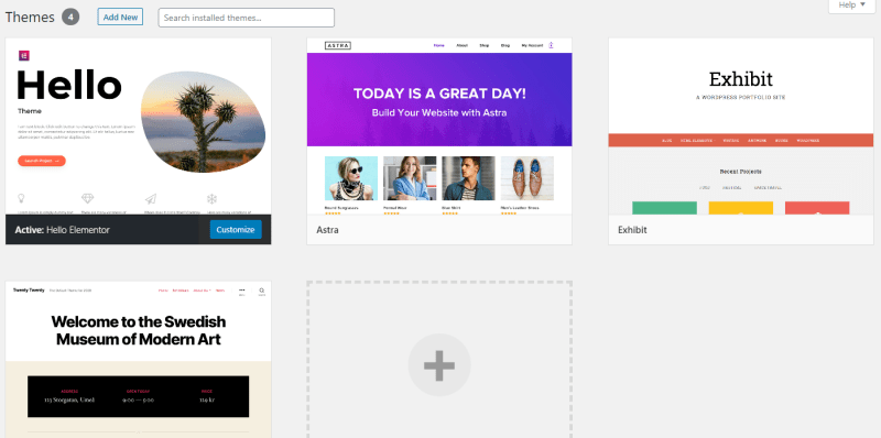Wordpress themes tab