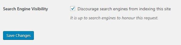 WordPress search engine visibility settings