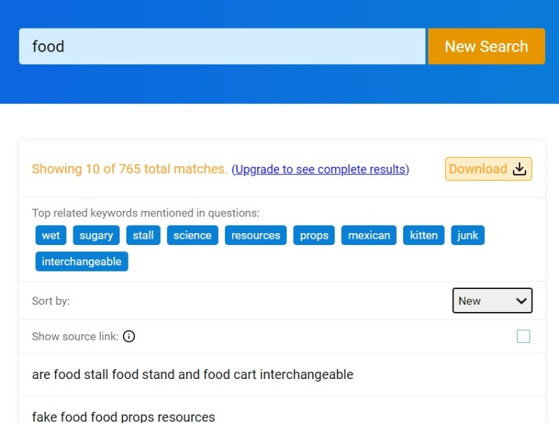 """QuestionDB search results for """"food"""""""