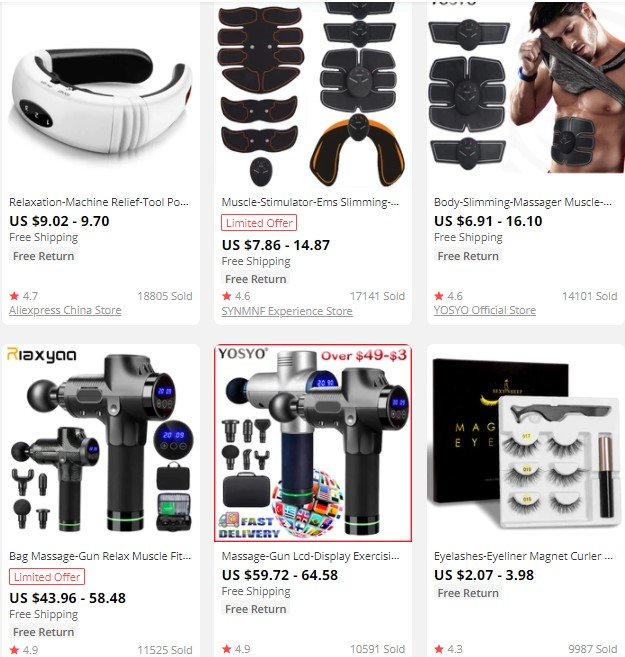 Dropshipping massage products on AliExpress