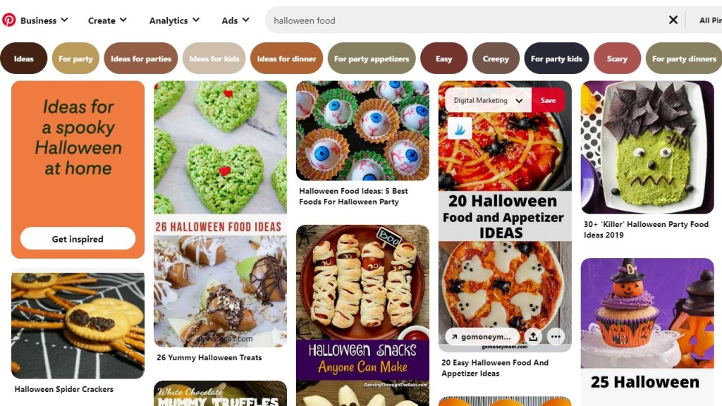 "Pinterest search results for ""Halloween food"""