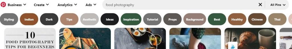 "Pinterest suggestions for ""food photography"""