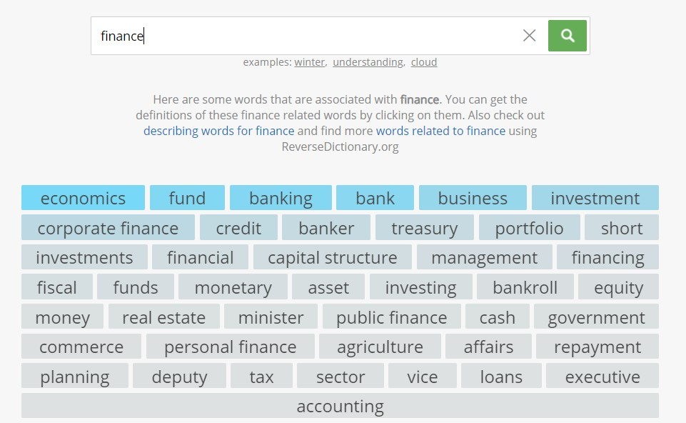 """Related words for """"finance"""""""