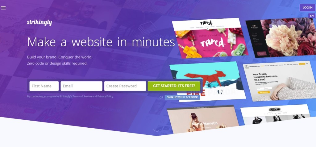 Strikingly blogging platform homepage