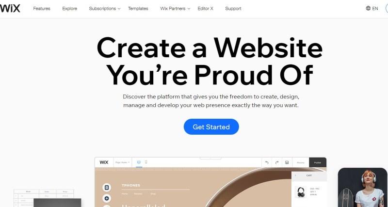 Wix blogging platform homepage