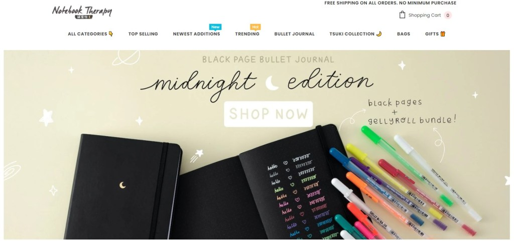 NoteBookTherapy dropshipping store homepage