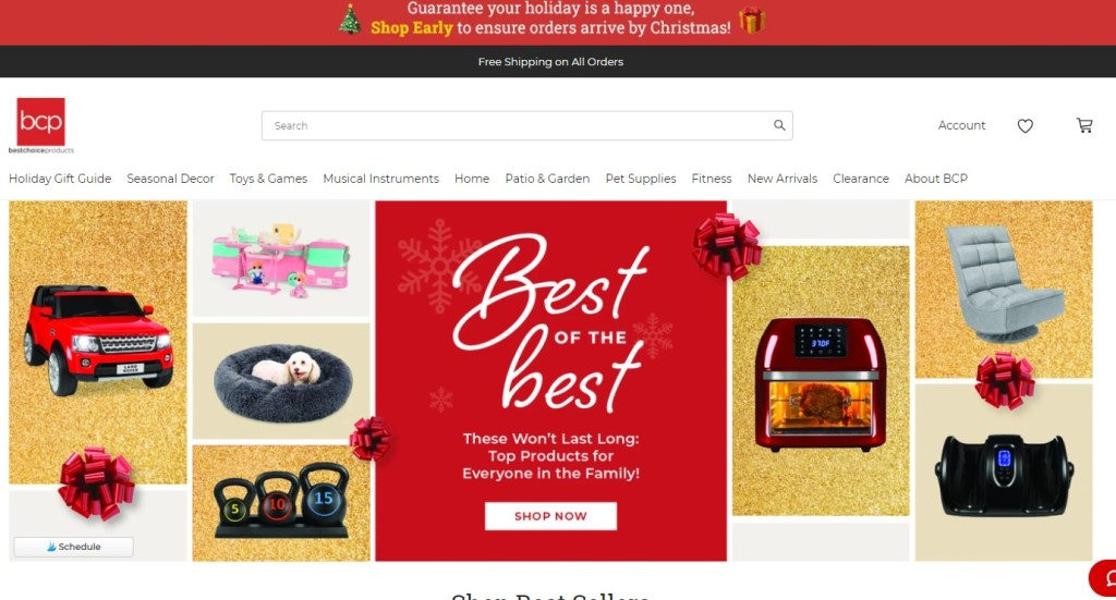 BestChoiceProducts dropshipping store homepage