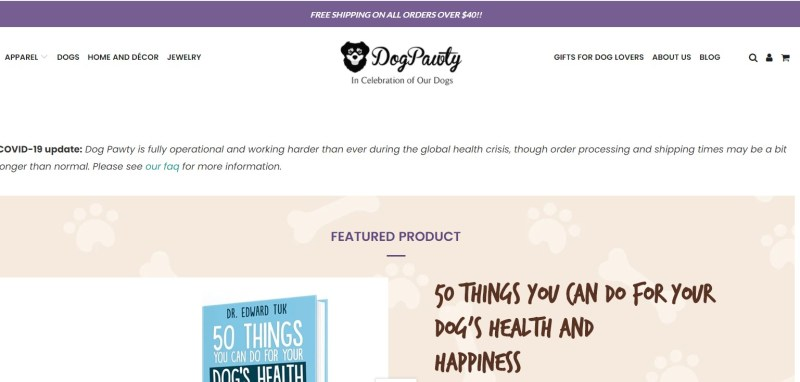 DogPawty dropshipping store homepage
