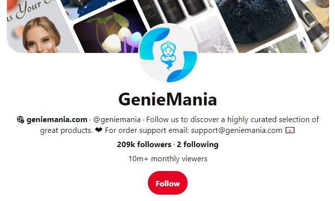 GenieMania Pinterest profile