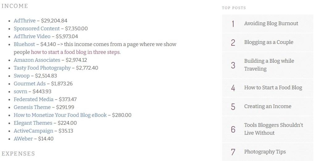 PinchOfYum blog income reports